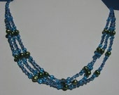Sea Dream 3 Strand dyed pearl and glass necklace