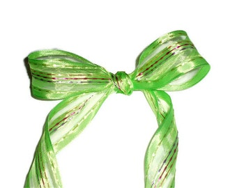 "Green with Strips Ribbon / Easter Ribbon ... 1.5"" X 10 yards"