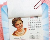 Beauty Salon Decor, Vintage Calendars, Hair Styles, Old Advertising / 1950s / Blue