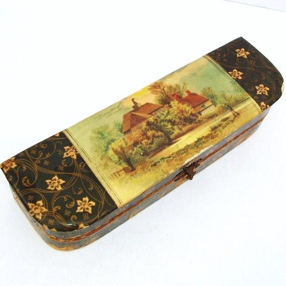 Vintage Mens Celluloid Box  Necktie Boxes  Gentlemen Necktie Storage  Landscape Illustration