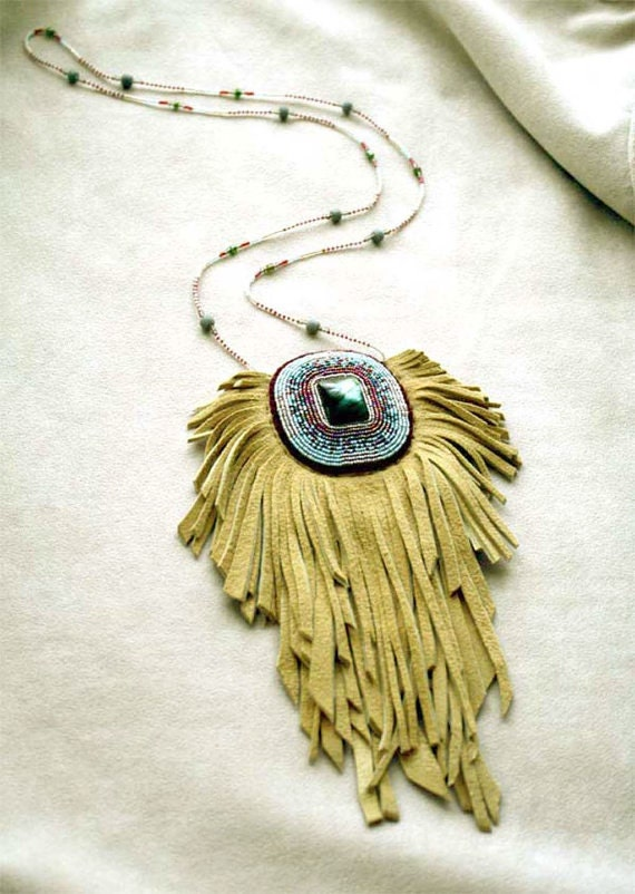 Leather Bag Fringe Bag Amulet Pouch Necklace Leather Gemstone Jewelry Jewellery Tribal Bead Embroidery