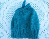 Vintage Style - Gorgeous Hand Knitted Teal Green Doll Hat