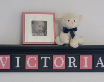 Nursery Wall Decor - Gift for New Parents, Baby Shower, Baptism, Christening, Navy Shelf with Wood Letter Pink and Blue