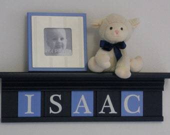 """NAVY BLUE Nursery Wall Decor / Room Decor - Personalized for ISAAC on 24"""" Navy Shelf with 5 Pastel Baby Blue and Navy Blue Wall Letters"""