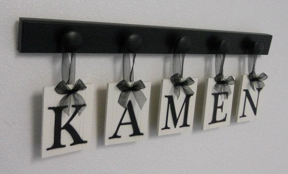 Unique Wedding Gift Idea Family Name Hanging Wood Sign Set Includes Name KAMEN and 5 Wooden Hooks Black