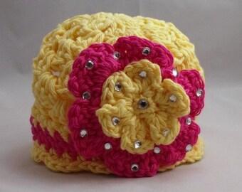 Crochet Newborn Beanie Yellow Pink