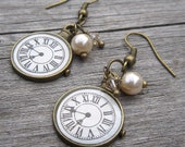 Clock Face Earrings, Roman Numerals, antiqued bronze