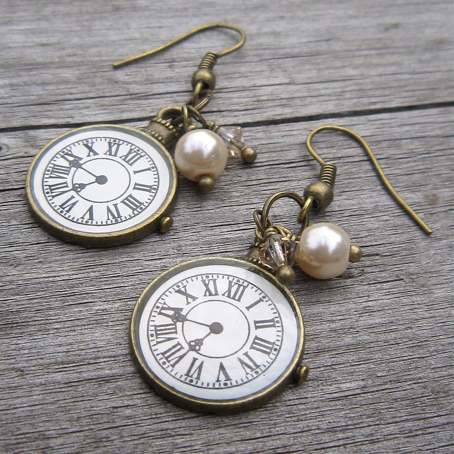 Clock Face Earrings Roman Numerals Antiqued By Wychwooddreams