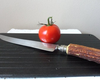Knife - Horn Handle, Vintage Crown Crest, Made in Sheffield, England, Thanksgiving, Stainless Steel Blade, Quality Cutlrey, Collectible