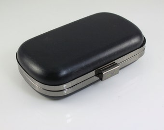 6.5 x 3 3/4 inches - Gunmetal Rounded Edge Shape Dressing Case with Chain Loops - 1 piece (CBF-M24)
