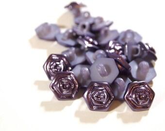 Purple Rose Shank Button (13mm) - Lot of 20