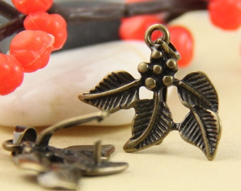 5pcs Large Brass Leaves Pinch Bails