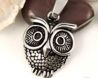 Cute Owl Stainless Steel Pendant