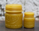 "Beeswax Candle Set - antique mason jar shaped - ""Drey Mason Jar - and -  Vaseline"" - by Pollen Arts - Md. & Sm.."