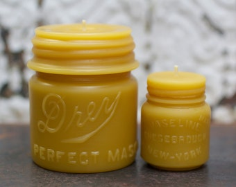 "Beeswax Candle Set - antique mason jar shaped - ""Drey Mason Jar - and -  Vaseline"" - by Pollen Arts - Md. & Sm.."