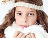 Iridescent snowflake beaded headband - headband fascinator, bridal headband, holiday headband
