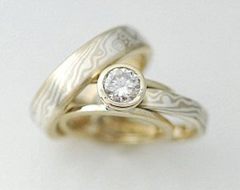 18k Yellow Gold and Sterling Wedding band set with Mokume Gane Rings and Guard very unique