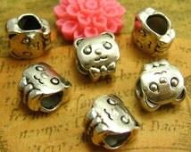 20 pcs Silver Beads Bracelet Beads Panda Beads 9mm Double Sided CH1248