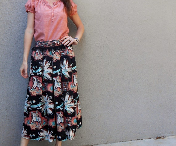 SALE Vintage 80s native american themed feathers indians culottes wide legged cropped lounge pants / womens small medium