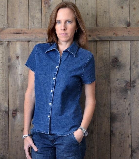 vintage 90s EDDIE BAUER denim blue jean blouse / S