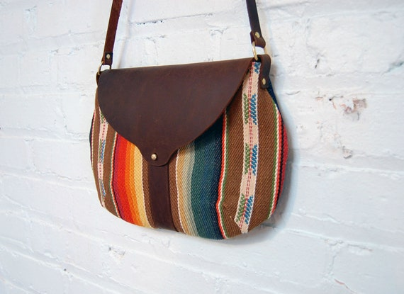The Taplin Purse // Striped Rainbow Fabric with Dark Chocolate Brown Leather and Adjustable Strap