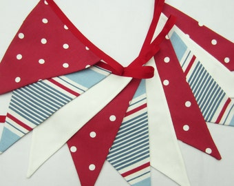 Fabric Bunting, Nautical Bunting, Flag Banner, Red white and blue , dots and stripes,Flags, seaside theme, photo prop, 10 double sided flags