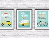 Three poster set,  retro print, Bike poster, Vespa, Shasta trailer poster, quote print, inspirational art, quote art, positive prints A3