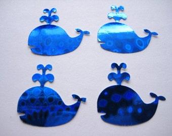 50 Blue Prismatic Whale punch die cut scrapbooking embellishments E1479