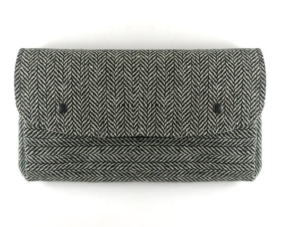 Black Herringbone Wool Wallet. Large Folding Coin Purse. Black Tweed Wallet. Handwoven in Ireland. Black White Wool Wallet Monochrome
