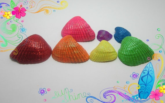 SALE Hand Painted Sea Shells Rainbow Colors Sparkle WAS 10.00
