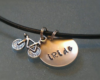 """Aluminum and Leather """"iRide"""" necklace with Road Bike Charm UNRIDE03"""