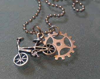BMX Bike Charm and Gear Necklace - UNBKGR01