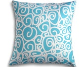 16 x 16 Turquoise White Swirl Pillow Cover - Contemporary Modern Throw Toss Accent Pillow Cover Perfect for Girl's Bedroom