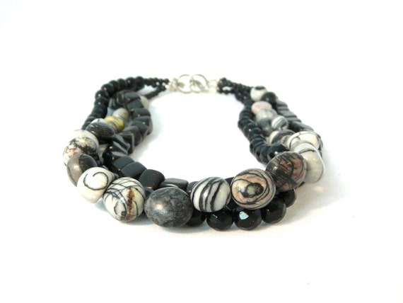 cyber monday. FOG. picasso jasper multi-strand necklace with black onyx, cube black jasper and sterling silver clasp. urban. gift for her.