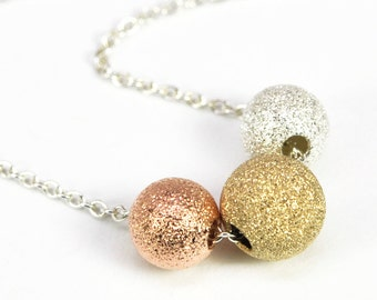 Mixed Metals Stardust Necklace, Sterling Silver, Rose Gold and Yellow Gold Fill, Kristin Noel Designs