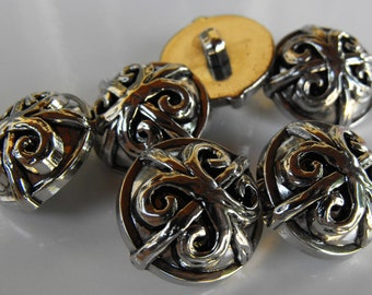 12 Silver Fancy X Small Round Shanked Buttons Size 1/2""
