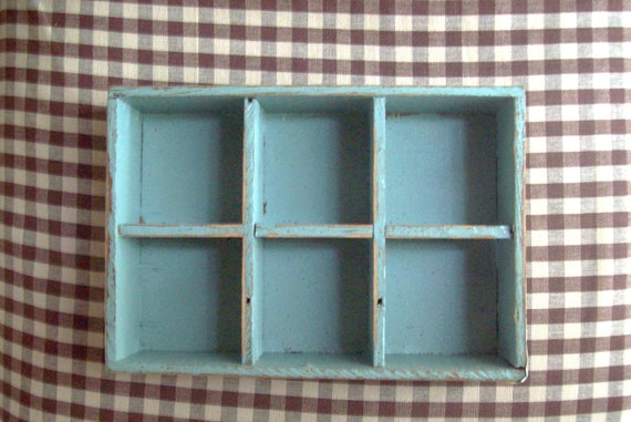vintage wood wooden box shelf organizer aqua shabby chic cottage country