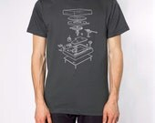 Exploded Turntable T-shirt - MENS MEDIUM ASPHALT