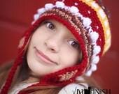 Crochet Earflap Hat-Womens Ski Hat-Girls Earflap Hat-Winter Fashion Accessory Hat-Teen Ski Hat-Adult Beanie-Ladies Winter Hat