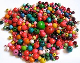 Take 20% Off Large LOT Shiny Gloss Finish Colorful Wood Beads