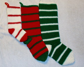 Small, Medium, And Large Crochet  Striped Christmas Stocking Set Of Three