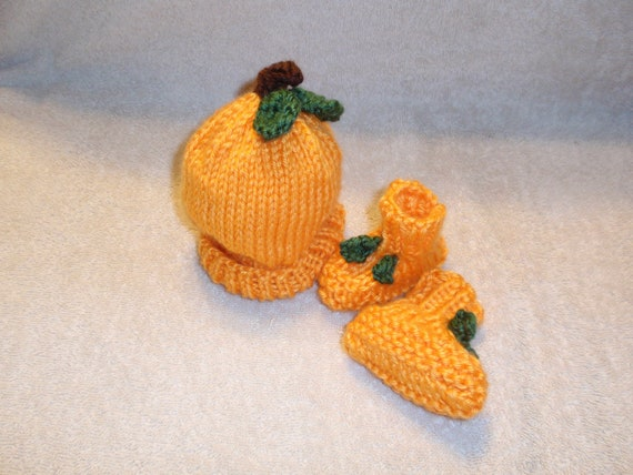 Knit  Pumpkin Hat And Booties
