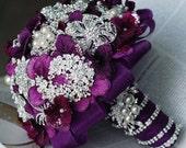 Wedding Brooch Bouquet Bridal Brooch Bouquet Pearl Crystal Rhinestone Brooch Bouquet Amethyst Dark Purple Petals BB024LX