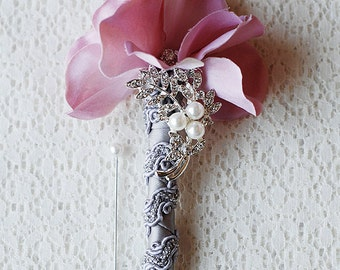 Hydrangea Boutonniere Corsages - Pearl Rhinestone Crystal - Silver Blush Light Pink Grey - 25% off - BN004LX