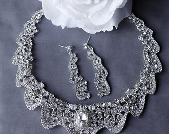 SALE Bridal Rhinestone Necklace Earrings Set Crystal Wedding Jewelry NK041LX