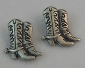 Cowboy Boot Buttons - Antique Silver Metal Shank - 2 PC Set - Country Western, American Old West Button
