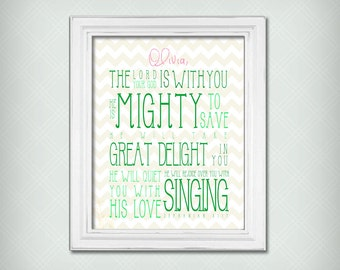 "Personalized ""He Is Mighty To Save"" Scripture Verse Art Print Zeph 3:17 - Green Text with Cream Chevrons - Select Your Size!"