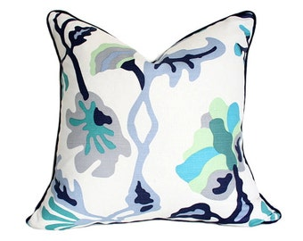 Potalla Multi Blues on White -Alan Campbell Quadrille- Designer Pillow Cover with Navy Piping single-sided (Made-to-Order)