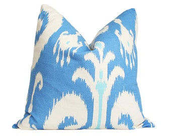 Ikat Blue Designer Pillow Cover FLAWED AS-IS 18x18
