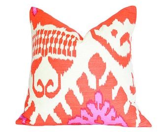 Kazak Ikat Orange and Pink - Quadrille - Designer Pillow Cover (Double-Sided) 13x13